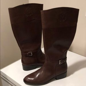 🥰New Lauren Equestrian Brown leather boots sz 11